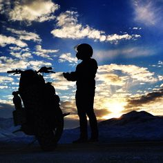 Motorcycle adventure, sunset
