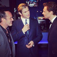Hemsworth, Hiddleston, and Clark.