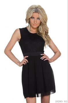 Μίνι φόρεμα με δαντέλα - Μαύρο