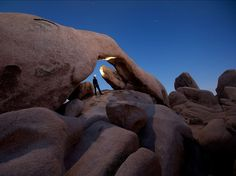 Arch Rock, Joshua Tree National Park  Photograph by Karin Eibenberger - A clear night at Arch Rock, Joshua Tree National Park. This is a self-portrait, made during a four-day stay hiking, camping, and climbing after being sent to a conference at San Diego by Johns Hopkins—it was the perfect combination of work and fun.