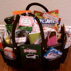 "Teachers Appreciation Tote Bag  Easy Class gift to assemble. Our school uses jooners an online website that room moms can use to send out class sign up sheets. I asked for specific small items like gum and candy and also a few small gift cards. I purchased a tote but you can also use a basket. Each item had a tag attached with a cute saying that went along with the item. ex. Starbucks card: "" Thanks a latte!"" highlighters: ""you light up our lives"" Box of Tea: ""You are Tea-rrific""  It's a…"