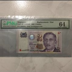 2000 Singapore $2 Millennium HTT Sign, Replacement With Prefix Start From 5 008650 Low Serial Replacement Note UNC PMG 64Deal at McDonald Tiong Bahru Plaza