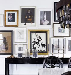 Day Birger et Mikkelsen dining room black white gallery wall Lonny Dec 2012