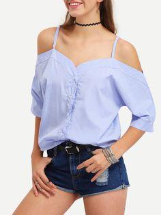 Blusa rayas verticales hombro al aire cami