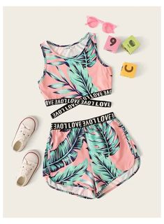 Teenage Outfits, Crop Top Outfits, Kids Outfits Girls, Girls Fashion Clothes, Sporty Outfits, Cute Outfits For Kids, Cute Summer Outfits, Teen Fashion Outfits, Cute Casual Outfits