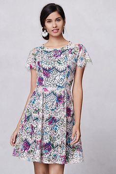 lacepaint flared dress / anthropologie