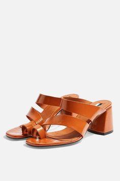 9d28aa6ce765 Topshop REYA Vegan Brown High Toe Loop Heels