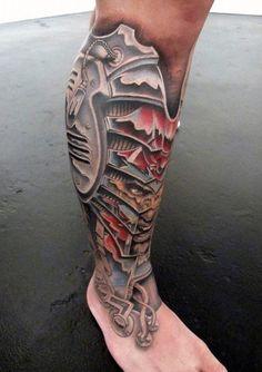 tattoo bein, tattoos für männer, 3d tätowierung mit maschinenteilen