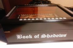 ON SALE now! Save TEN dollars for the next ten days! ENDS TODAY! Book of Shadows wood and glass display case, hinged top opening, graduated dimension by MyGrubbyHalo on Etsy
