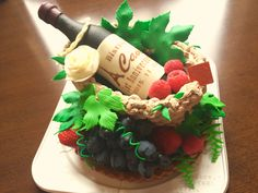 wine bottle tart for 1st anniversary / a bottle made of chocolate