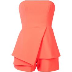Jay Godfrey strapless playsuit (212.680 CLP) ❤ liked on Polyvore featuring jumpsuits, rompers, dresses, playsuits, shorts, playsuit jumpsuit, orange jumpsuit, strapless romper, red romper jumpsuit and red romper