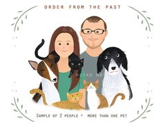 Whimsical Family portrait couple portrait with or by PaperPlants, $45.00