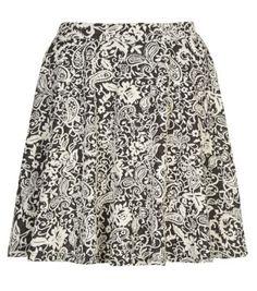 Black Paisley Floral Jacquard Skater Skirt