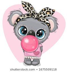 Cartoon koala girl with a bow and bubble gum vector image on VectorStock Cute Cartoon Drawings, Animal Drawings, Leaf Animals, Cute Animals, Animal Head Masks, Cartoon Mignon, Baby Koala, Happy Cartoon, Cartoon Posters