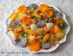 My Culinary Curriculum: Salade de fruits exotiques au sucre pétillant et au Cointreau (Salad of exotic fruits with sparkling sugar and Cointreau)