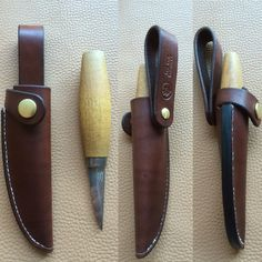 Sheath for a mora 120 sloyd knife. Snap closure makes it a bit more secure...always a good thing. You can see they've added an extra layer of leather between the stitches to safeguard the blade.