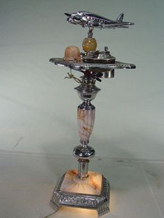 Vintage Art Deco Smoke Stand with Light, Marbleized Glass, Ashtray, Lighter and Light Up Airplane