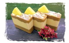 """Presents and Pancakes Goat Milk Soap: """"Each of these bars is scented with delicious vermont maple syrup, with hints of rum and vanilla. Each bar is topped with a """"pat of butter"""" and drizzled with melted """"butter"""", as well."""" $6.25 at A Life Deliberate Soap Co"""