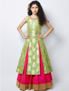 Shop Exclusive wedding wear magenta raw silk lehenga choli online from India. Indian Gowns, Indian Attire, Indian Outfits, Indian Wear, Pakistani Outfits, Kids Lehenga Choli, Lehenga Choli Online, Choli Dress, Lehenga For Girls