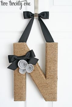Jute Wrapped Monogram Wreath- I need to make one of these for the front door. An 'H' of course!