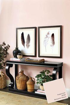 Benjamin Moore's Sugarcane Pink from Ballard Designs catalog