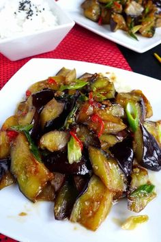 Stir-fried eggplant with plum sauce (苏梅酱茄子) | Red House Spice Best Chinese Food, Authentic Chinese Recipes, Vegetarian Recipes, Cooking Recipes, Healthy Recipes, Fall Recipes, Vegan Dishes, Food Dishes, Chinese Dinner
