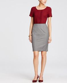 """Cut to fit. Styled to flatter. Designed to be worn any time of year, this alluring pencil skirt is made with our endlessly flattering all-season stretch fabric. Hidden back zipper with hook-and-eye closure. Back vent. Lined. 22 1/2"""" long."""