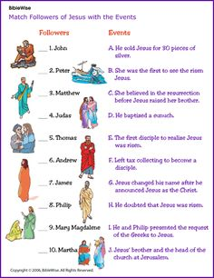 Match the Followers of Jesus with the Events- Kids Korner - BibleWise