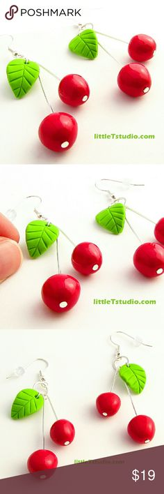 Sweet Cherry Earrings Brand New! Sweet Cherry Earrings! Each set is hand-sculptied by me making each one unique. Although it looks like real food, it's not edible. :) Jewelry Earrings