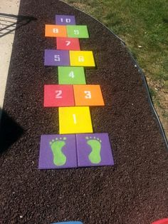 Hopscotch for the party. Use tape on the floor
