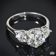 Butterflies 3 Stone Engagement Ring with a 2.54ct A CUT ABOVE Diamond Center