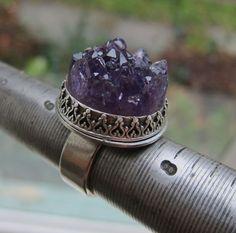 Amethyst Druzy Crystal Ring by angidega on Etsy, $148.00