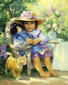 Enfant de Linda Picken Girly Cat and Doll