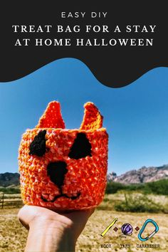 Free crochet pattern! Crocheted Cat-O'-Lantern Climbing Chalk Bag. Ready for Halloween, this cat-inspired Jack-O'-Lantern chalk bag even GLOWS! hookyarncarabiner.com #crochet #diy #free pattern #easy #tutorial #photos #climbing #yarn #orange #rock climbing #project #summer #outdoors #adventure #hookyarncarabiner #pumpkin #jackolantern #glowinthedark Climbing Chalk, Rock Climbing, Pattern Ideas, Free Pattern, Crochet Hooks, Free Crochet, Crochet Designs, Crochet Patterns, Ribbon Yarn