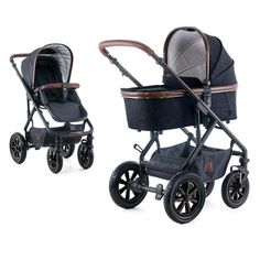 Kombi-Kinderwagen Nuova - Wood Black Denim