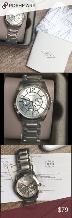 NWT Woman's Fossil Watch NWT or NIB Fossil Woman's watch. Brenna Collection. Style BQ1553. Silver Dial & bracelet; stainless steel. Quartz movement. Analog Display. Comes in cute metal Fossil box. Stock photos for Reference only. Fossil Accessories Watches