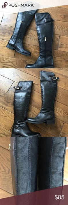 Vince Camuto Black Leather Over the Knee Boots Vince Camuto OTK Black Leather Boots w/ Lower Zipper Adjustable Straps 20 inch Shaft 7 1/2 Top Very Good Shape Gold Zippers Vince Camuto Shoes Over the Knee Boots