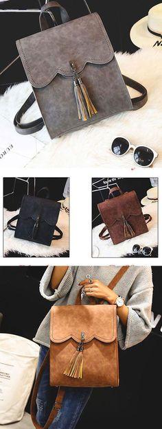 Retro Simple PU Tassels Women Student School Backpacks for big sale! #pu #tassel #women #retro #backpack #Bag #school #college #rucksack #women #leisure #travel #fashion