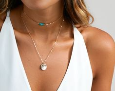 Delicate Necklaces Initial Necklace Gemstone by BlushesAndGold
