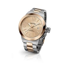 TW Steel Watch CANTEEN BRACELET CB404 is a modern classic 2-tone brushed steel case with PVD rose gold plating with sunray rose gold dial. This watch is 10 ATM water resistant.