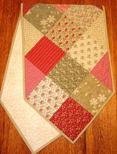 Shabby Chic Christmas Quilted Table Runner in Moda's by susiquilts, $40.00