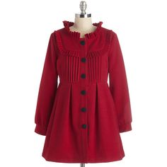 ModCloth Vintage Inspired Long Long Sleeve Filled with Glee Coat (74 CAD) ❤ liked on Polyvore featuring outerwear, coats, jackets, modcloth, apparel, red, vintage style coats, button coat, long sleeve coat and red coat