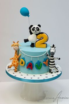 Panda and friends cake by Soraia Amorim Jungle Birthday Cakes, Jungle Theme Cakes, Baby Boy Birthday Cake, Animal Birthday Cakes, Safari Cakes, Baby Boy Cakes, Animal Cakes For Kids, Bolo Panda, Cake Designs For Kids