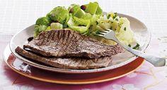 Kalveschnitzel med rodfrugtmos