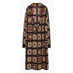 Zara Patchwork Crochet Coat (305 BRL) ❤ liked on Polyvore featuring outerwear, coats, crochet coat and zara coat: