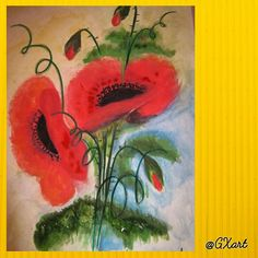 Red POPPY water painting