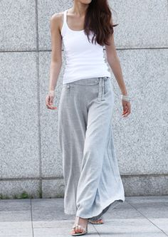 Grey linen wide leg pants - Only at FC!