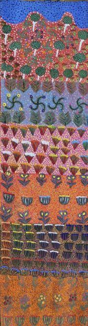 oycie Pitjarra Morton My Country Acrylic on linen, 107 x 30 cm Artists of Ampilatwatja Eastern Desert. For more Aboriginal art visit us at www.mccullochandmcculloch.com.au #aboriginalart #australianart #contemporaryart