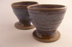 Wine Goblet in stoneware, Glazed in Blue beige. £6.45