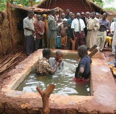 Baptism at a Circuit Assembly in a refugee camp in Tanzania.  http://MinistryIdeaz.com